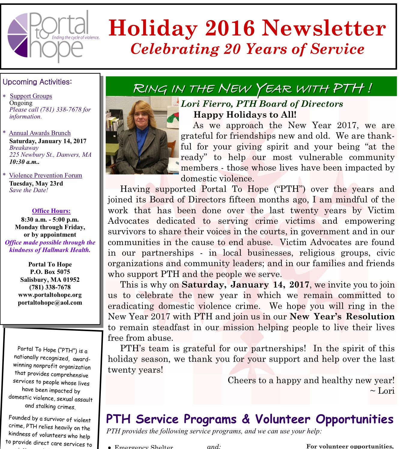 Holiday 2016 Newsletter
